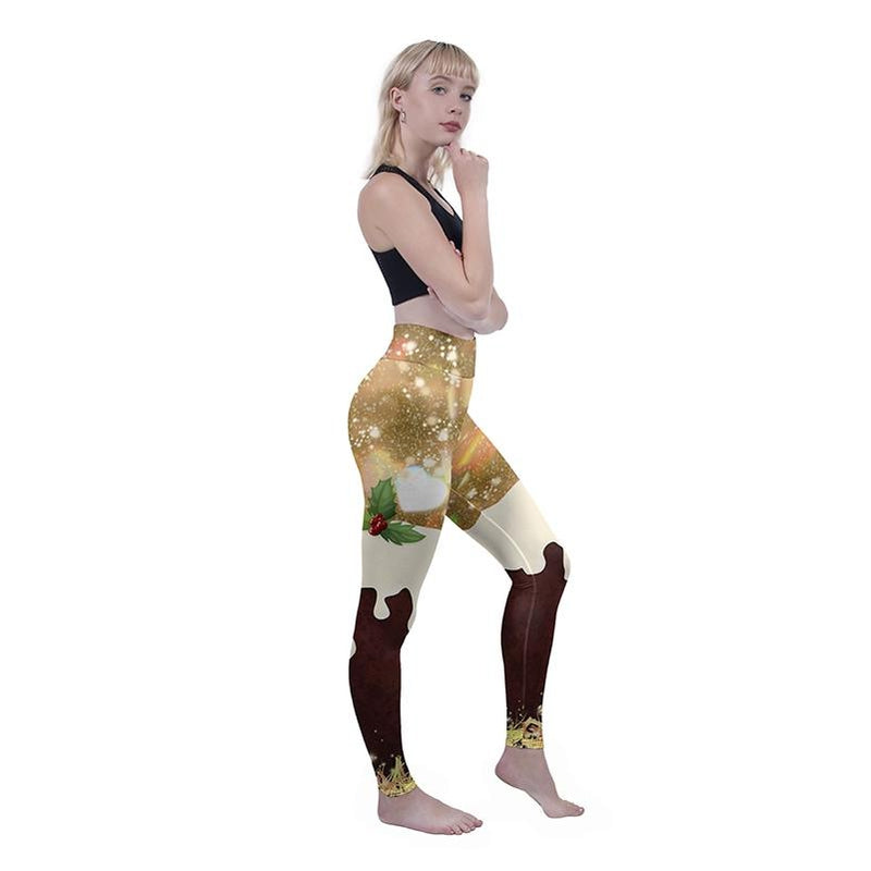 Christmas Pudding High Waisted Leggings-Wholesale Leggings UK- Wholesale Women's Clothing- Kukubird Creative Studio