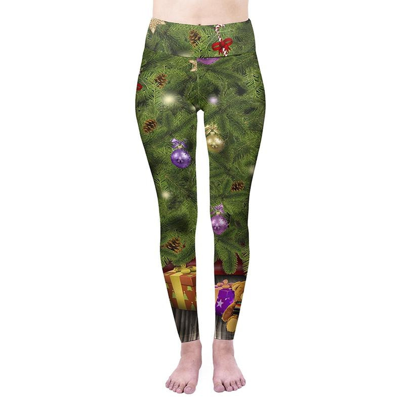 Christmas Trees High Waisted Leggings-Kukubird Creative Studio