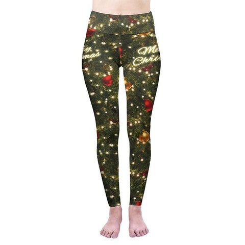 Merry Christmas Tree High Waisted Leggings-Wholesale Women's Leggings, Wholesale Plus Size , Wholesale Fashion Clothing