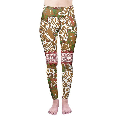 Gingerbread Treats High Waisted Leggings-Wholesale Women's Leggings, Wholesale Plus Size , Wholesale Fashion Clothing