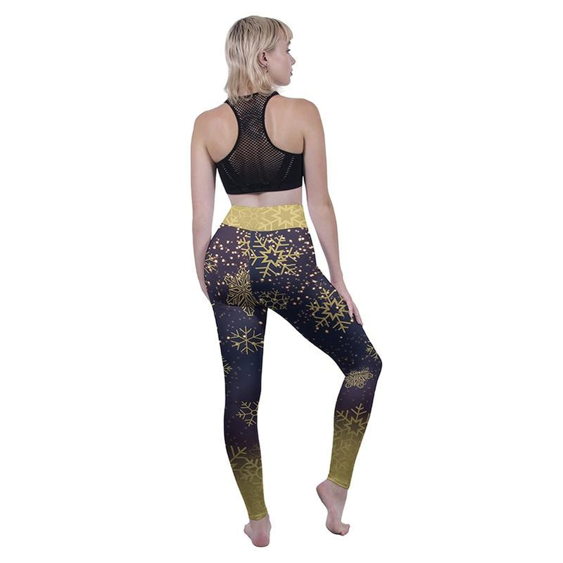 Golden Snow Flakes High Waisted Leggings-Kukubird Creative Studio