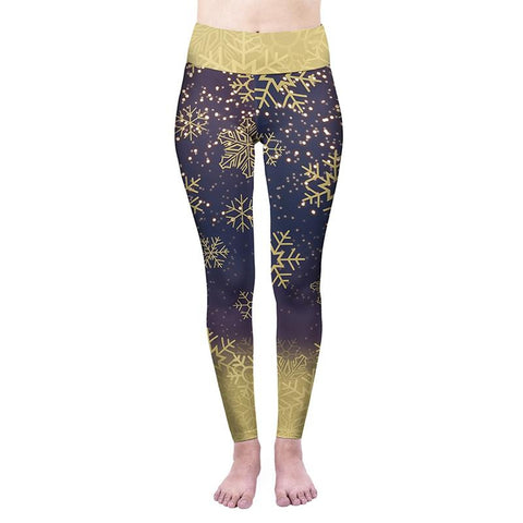 Golden Snow Flakes High Waisted Leggings-Wholesale Women's Leggings, Wholesale Plus Size , Wholesale Fashion Clothing