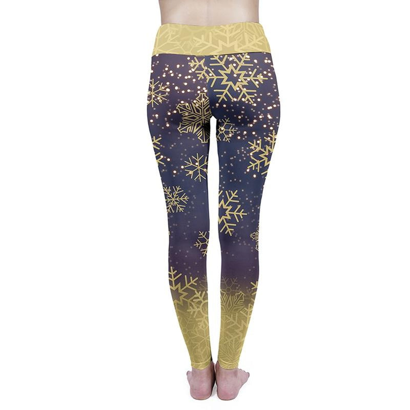 Golden Snow Flakes High Waisted Leggings