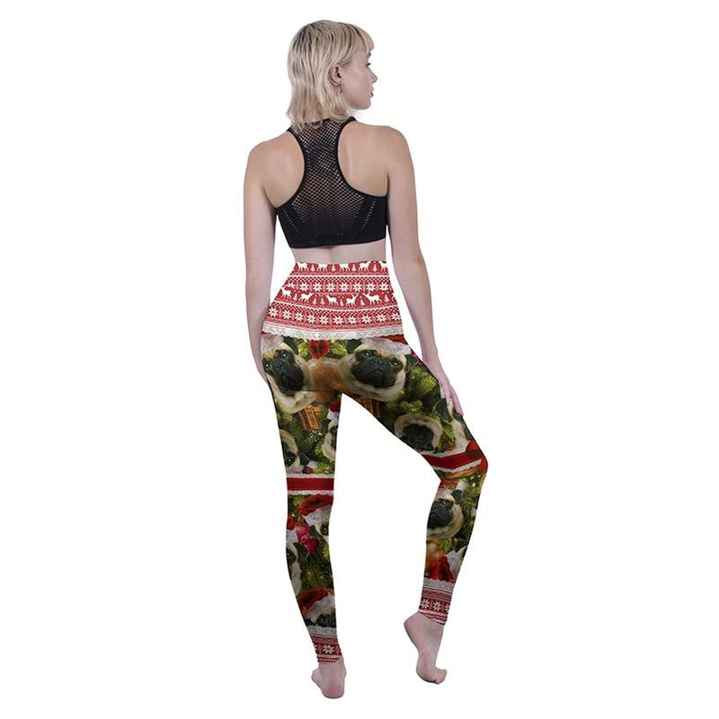 Pugmas High Waisted Leggings-Wholesale Leggings UK- Wholesale Women's Clothing- Kukubird Creative Studio