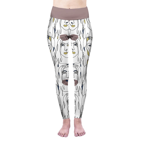 Mood Face High Waisted Leggings-Wholesale Women's Leggings, Wholesale Plus Size , Wholesale Fashion Clothing