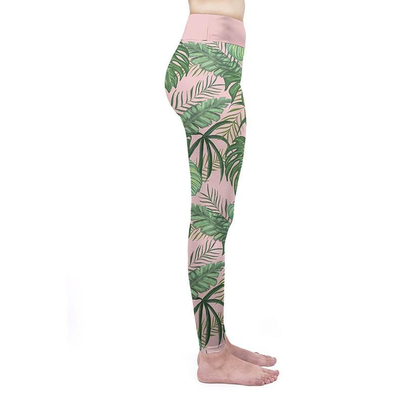 Green Tropical High Waisted Leggings