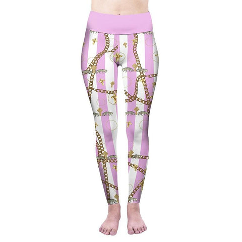 Pink Stripes Golden Chains High Waisted Leggings-Wholesale Women's Leggings, Wholesale Plus Size , Wholesale Fashion Clothing