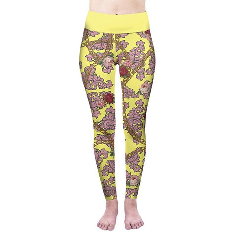 Yellow Colour Rose High Waisted Leggings-Wholesale Women's Leggings, Wholesale Plus Size , Wholesale Fashion Clothing