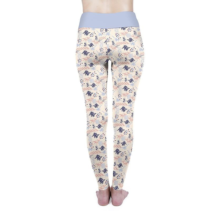 Pastel Dinosaurs High Waisted Leggings-Kukubird Creative Studio