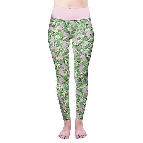 Tropical Leaves High Waisted Leggings-Wholesale Women's Leggings, Wholesale Plus Size , Wholesale Fashion Clothing