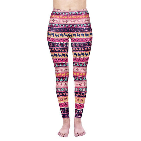 Geometric Llama Regular Leggings-Wholesale Women's Leggings, Wholesale Plus Size , Wholesale Fashion Clothing