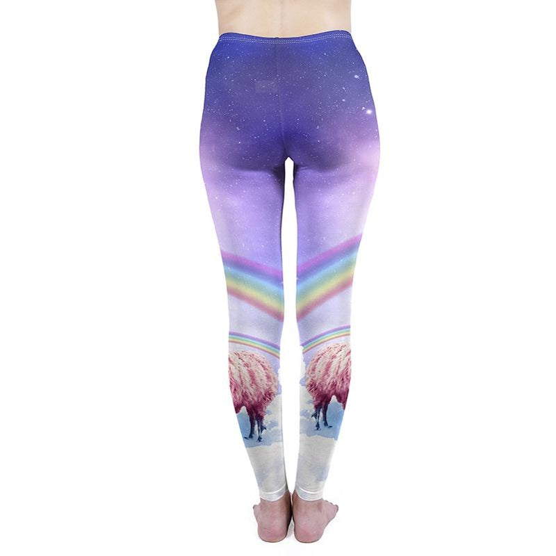 Rainbow Llama Regular Leggings-Wholesale Leggings UK- Wholesale Women's Clothing- Kukubird Creative Studio