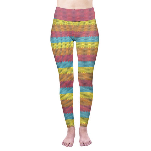 Summer Stripes High Waisted Leggings-Wholesale Women's Leggings, Wholesale Plus Size , Wholesale Fashion Clothing