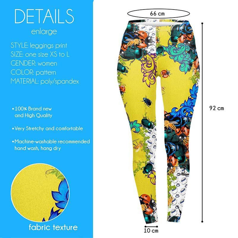 Bugs And Teacups Regular Leggings-Kukubird Creative Studio