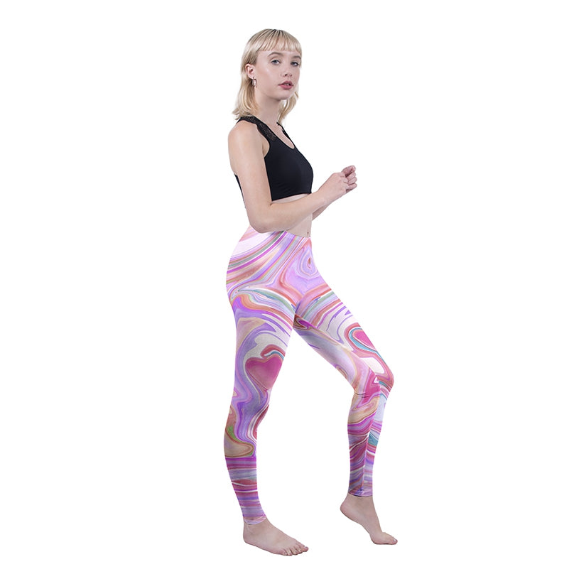 Marble Heart Pink Regular Leggings