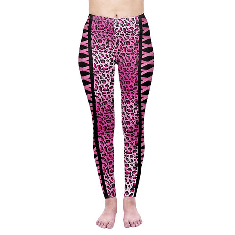 Pink Leopard Regular Leggings-Wholesale Women's Leggings, Wholesale Plus Size , Wholesale Fashion Clothing