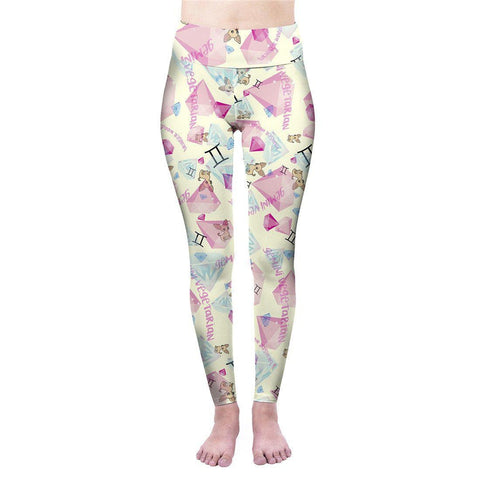 Gemini Vegetarian Print High Waisted Leggings-Wholesale Women's Leggings, Wholesale Plus Size , Wholesale Fashion Clothing