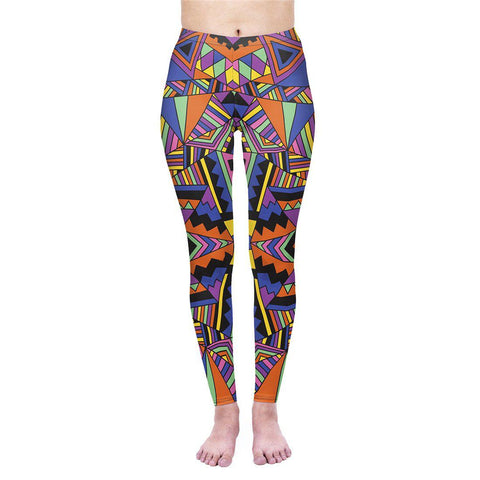 Block Geo Tribal Regular Leggings-Wholesale Women's Leggings, Wholesale Plus Size , Wholesale Fashion Clothing