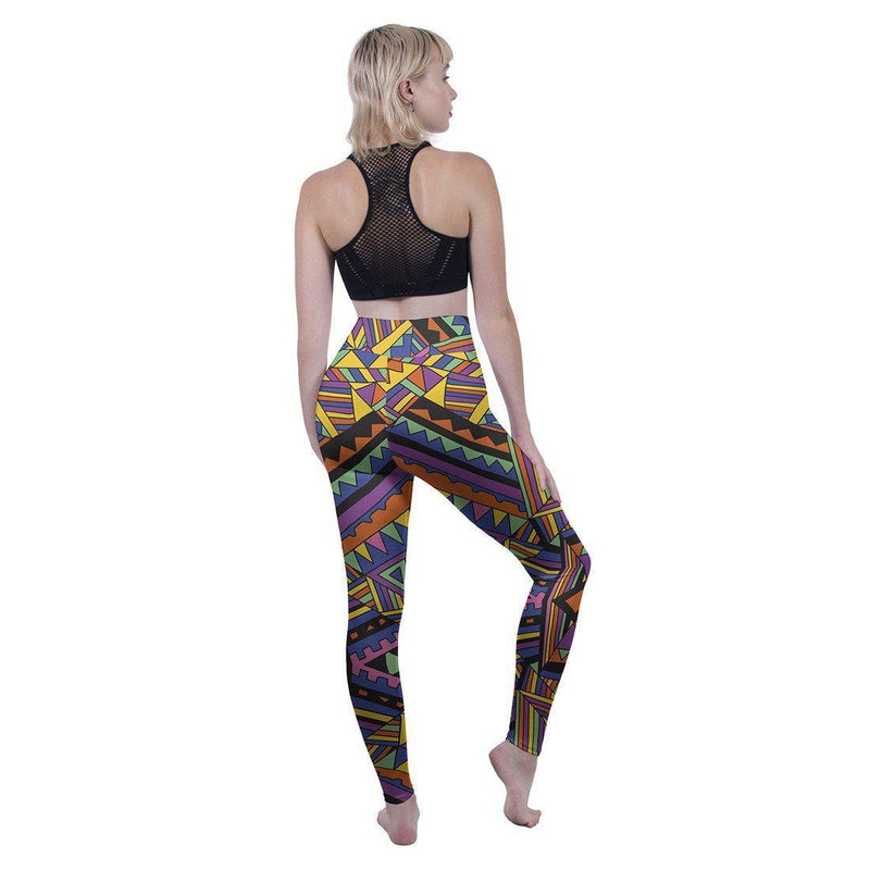 Block Geo Tribal High Waisted Leggings