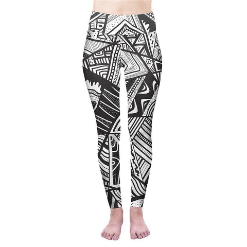 Monochrome Tribal High Waisted Leggings-Wholesale Women's Leggings, Wholesale Plus Size , Wholesale Fashion Clothing