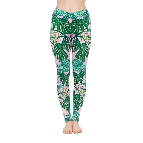 Pink Tropical Regular Leggings-Wholesale Women's Leggings, Wholesale Plus Size , Wholesale Fashion Clothing