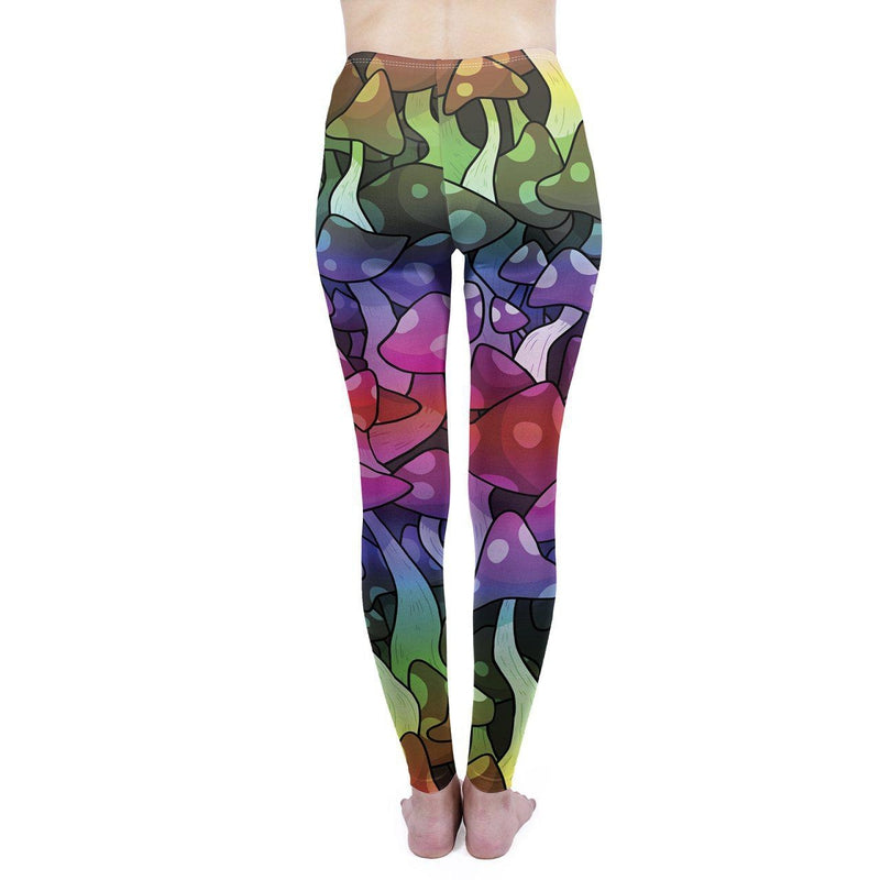 Mushrooms Black Regular Leggings