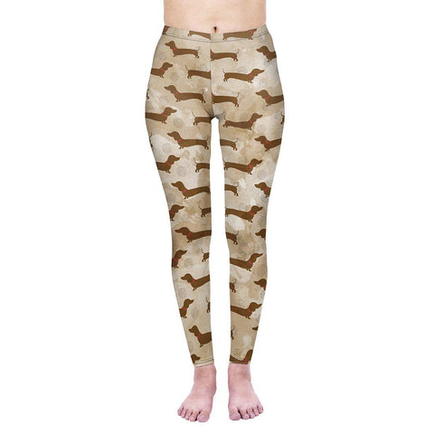 Coffee Dachshunds Regular Leggings-Wholesale Women's Leggings, Wholesale Plus Size , Wholesale Fashion Clothing