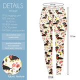 Floral Dachshunds with Scarves Regular Leggings-Wholesale Women's Leggings, Wholesale Plus Size , Wholesale Fashion Clothing