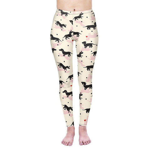 Love Polkadot Dachshunds Regular Leggings-Wholesale Women's Leggings, Wholesale Plus Size , Wholesale Fashion Clothing