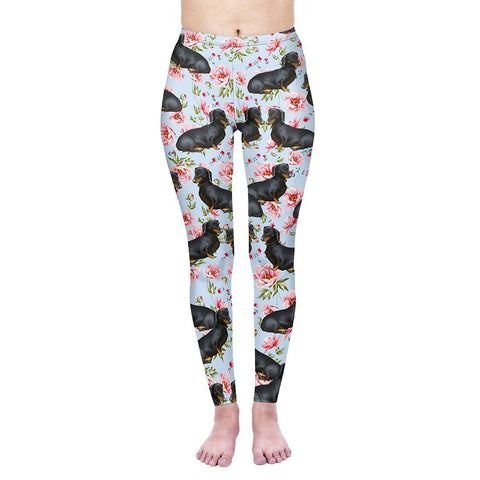 Sitting Floral Dachshunds Regular Leggings-Wholesale Women's Leggings, Wholesale Plus Size , Wholesale Fashion Clothing