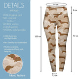 Coffee Dachshunds High Waisted Leggings-Wholesale Women's Leggings, Wholesale Plus Size , Wholesale Fashion Clothing
