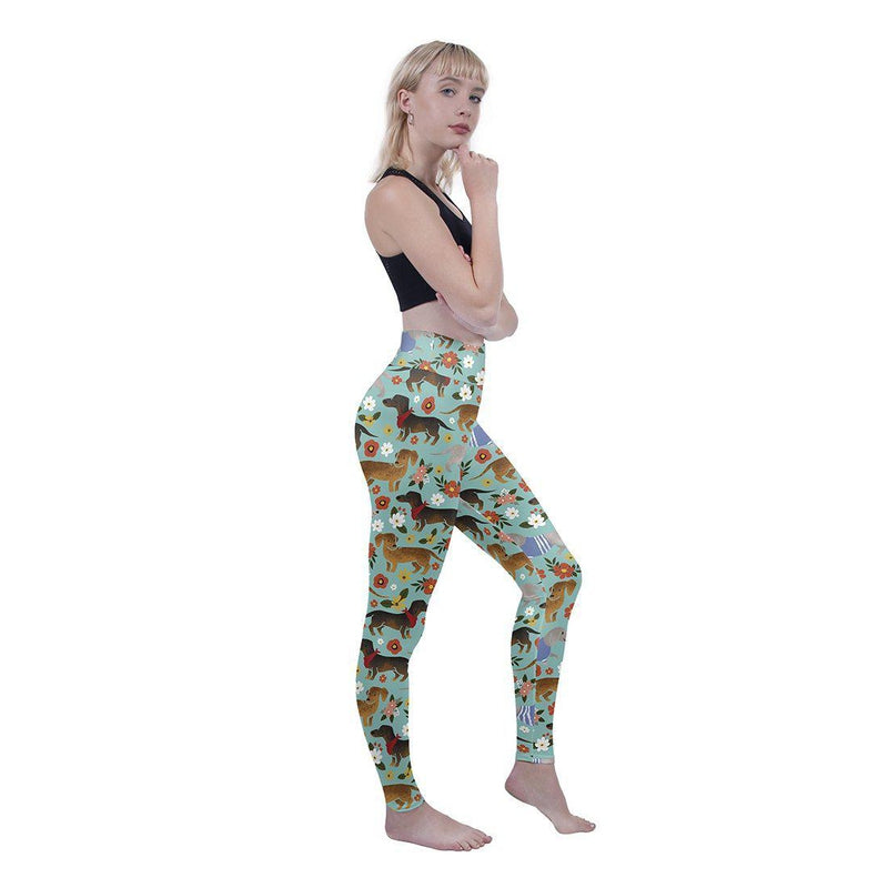Dachshund High Waisted Leggings-Kukubird Creative Studio