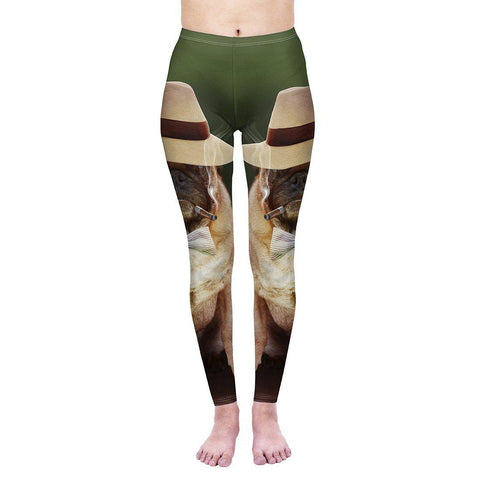 Smoking Gangster Pug Regular Leggings-Wholesale Women's Leggings, Wholesale Plus Size , Wholesale Fashion Clothing