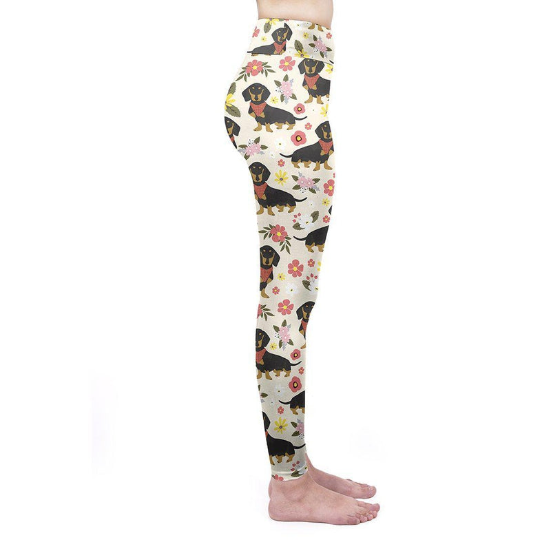 Floral Dachshunds With Scarves High Waisted Leggings
