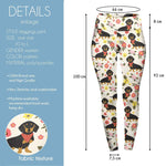 Floral Dachshunds With Scarves High Waisted Leggings-Wholesale Leggings UK- Wholesale Women's Clothing- Kukubird Creative Studio