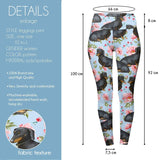 Sitting Floral Dachshunds High Waisted Leggings-Wholesale Women's Leggings, Wholesale Plus Size , Wholesale Fashion Clothing