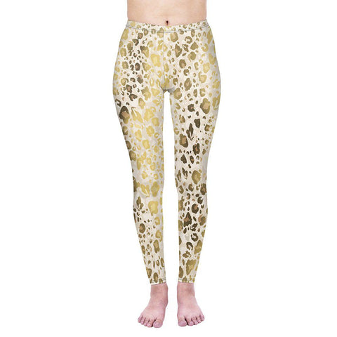 Gold Shimmer Leopard Regular Leggings-Wholesale Women's Leggings, Wholesale Plus Size , Wholesale Fashion Clothing