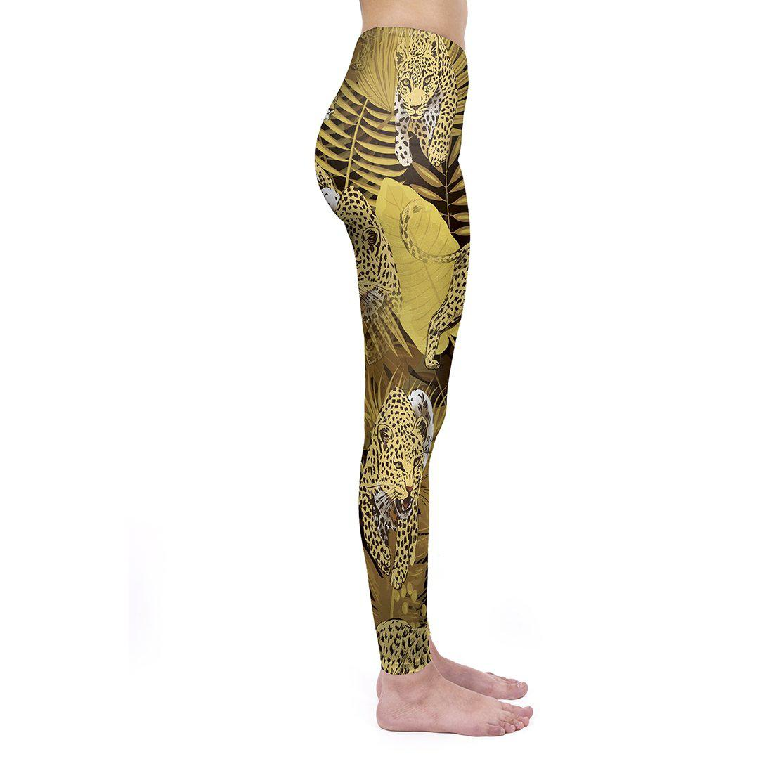 Golden Tropical Leopard Regular Leggings