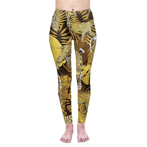 Tropical Leopard Regular Leggings-Wholesale Women's Leggings, Wholesale Plus Size , Wholesale Fashion Clothing