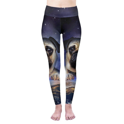 Pug On Earth High Waisted Leggings-Wholesale Women's Leggings, Wholesale Plus Size , Wholesale Fashion Clothing