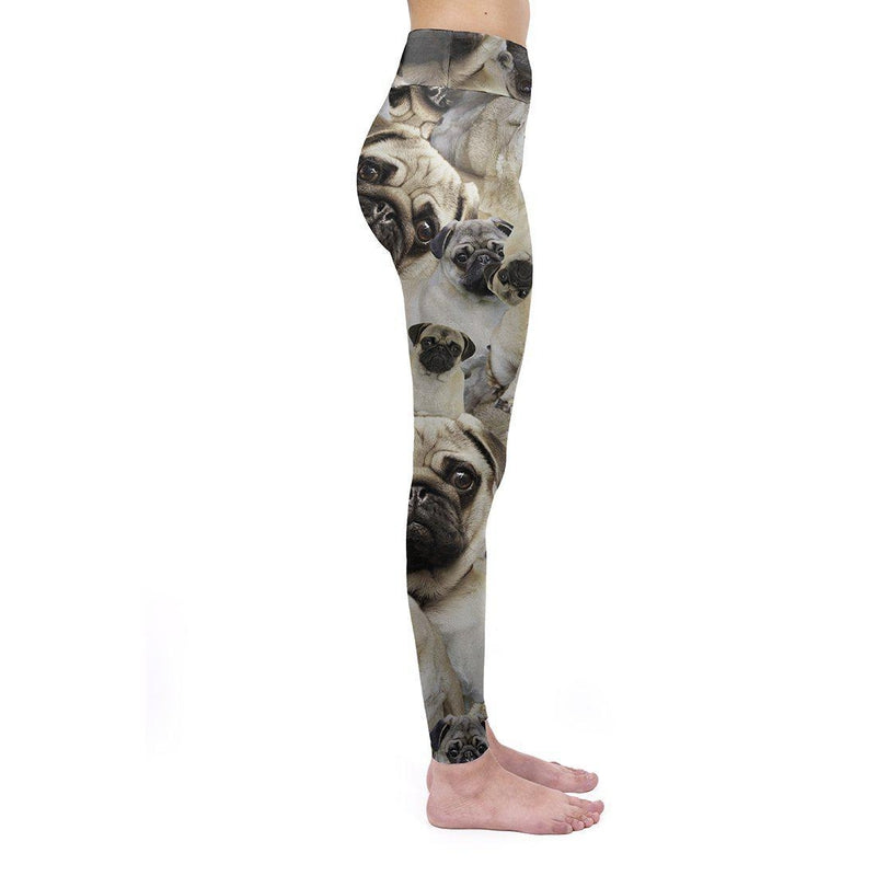 Pug Pile High Waisted Leggings