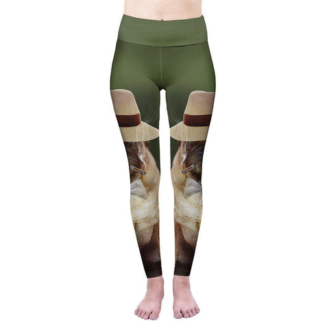 Smoking Gangsta Pug High Waisted Leggings-Wholesale Women's Leggings, Wholesale Plus Size , Wholesale Fashion Clothing
