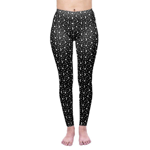 Moon And Stars Regular Leggings-Wholesale Women's Leggings, Wholesale Plus Size , Wholesale Fashion Clothing