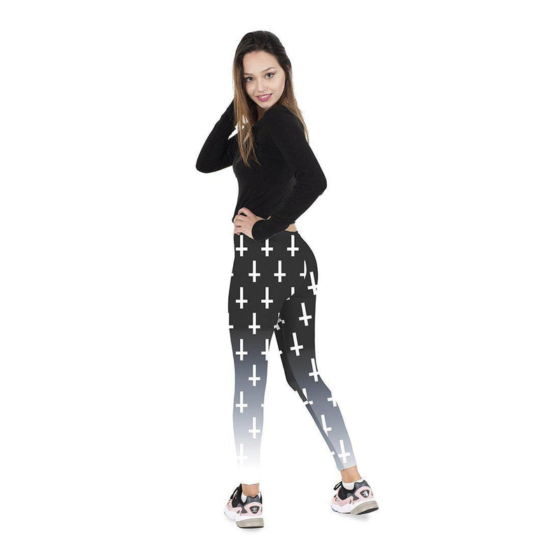 Unholy Cross Black Regular Leggings-Kukubird Creative Studio