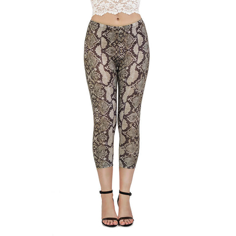 Snake skin Classic Brown Capri Leggings-Wholesale Women's Leggings, Wholesale Plus Size , Wholesale Fashion Clothing
