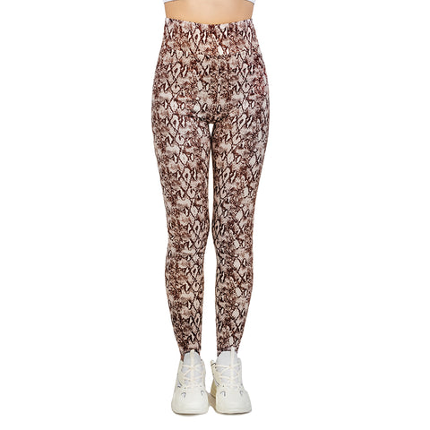Python Tan High Waisted Leggings-Wholesale Women's Leggings, Wholesale Plus Size , Wholesale Fashion Clothing