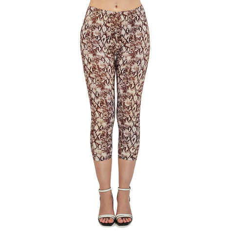 Python Tan Capri Leggings-Wholesale Women's Leggings, Wholesale Plus Size , Wholesale Fashion Clothing