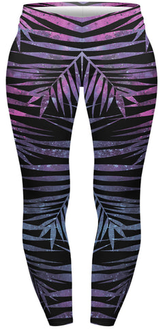 Neon Palms Plus Leggings-Wholesale Women's Leggings, Wholesale Plus Size , Wholesale Fashion Clothing