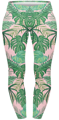 Pink Tropical Plus Leggings-Wholesale Women's Leggings, Wholesale Plus Size , Wholesale Fashion Clothing