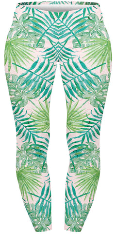 Watercolour Palms Plus Leggings-Wholesale Women's Leggings, Wholesale Plus Size , Wholesale Fashion Clothing